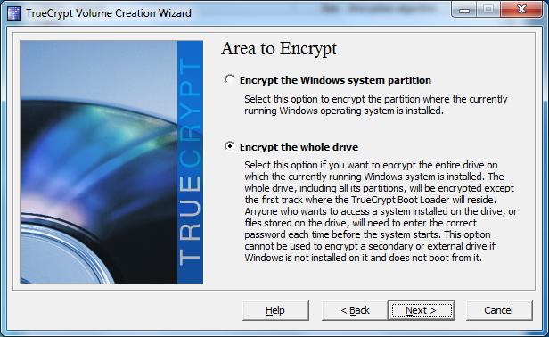 truecrypt encrypt whole drive